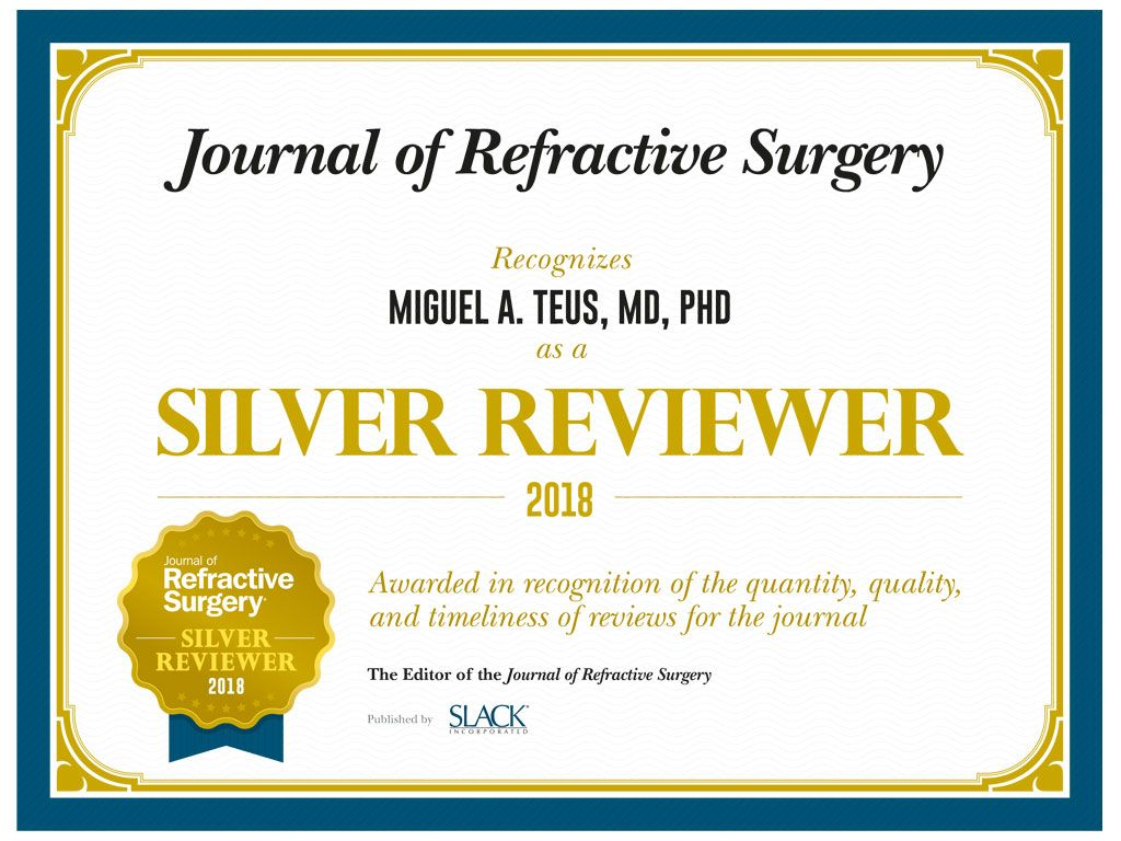 Premio Silver Reviewer Dr. Miguel Ángel Teus